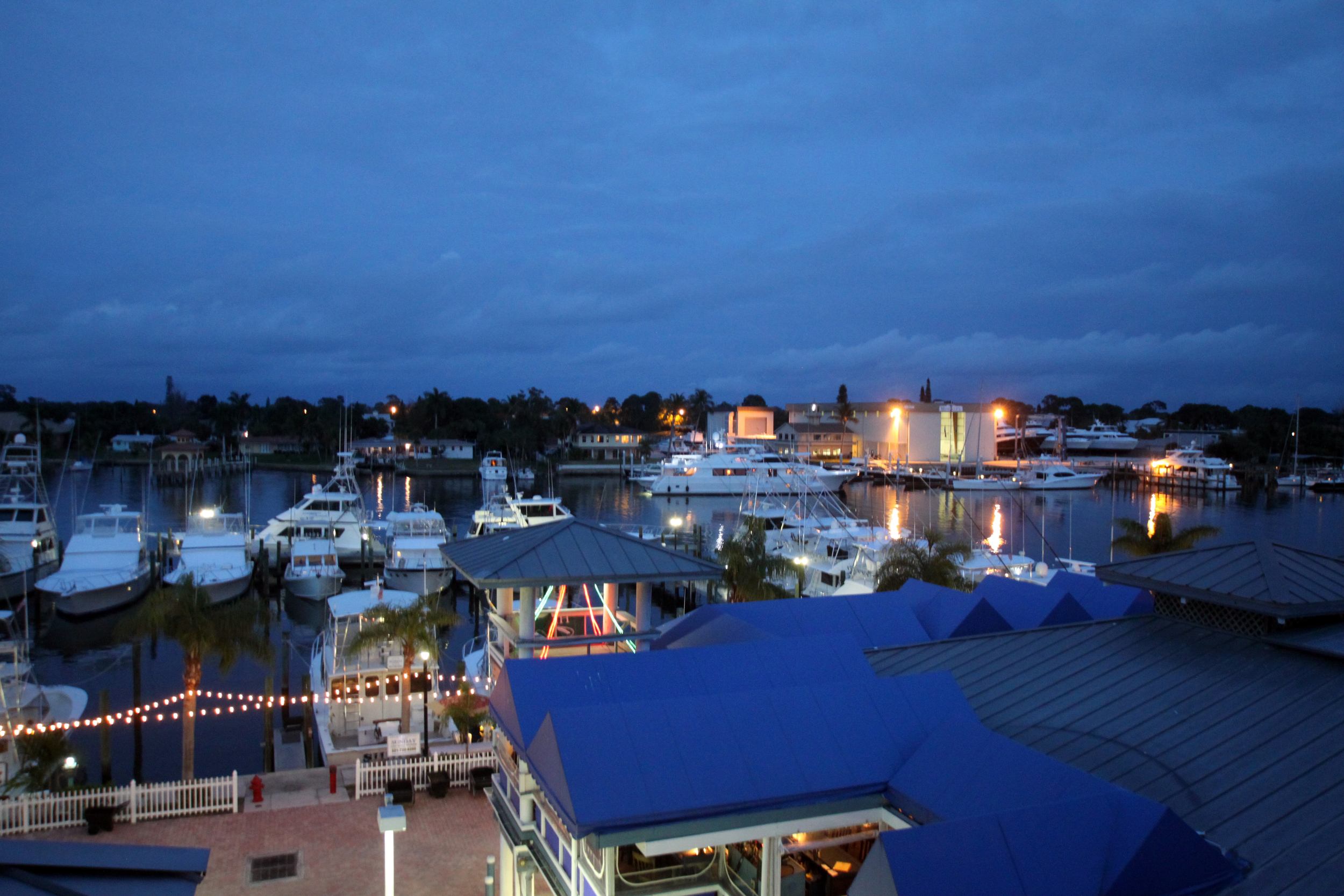 Evening view on harbor from Pirates Cove Resort balcony ©Joanne DiBona