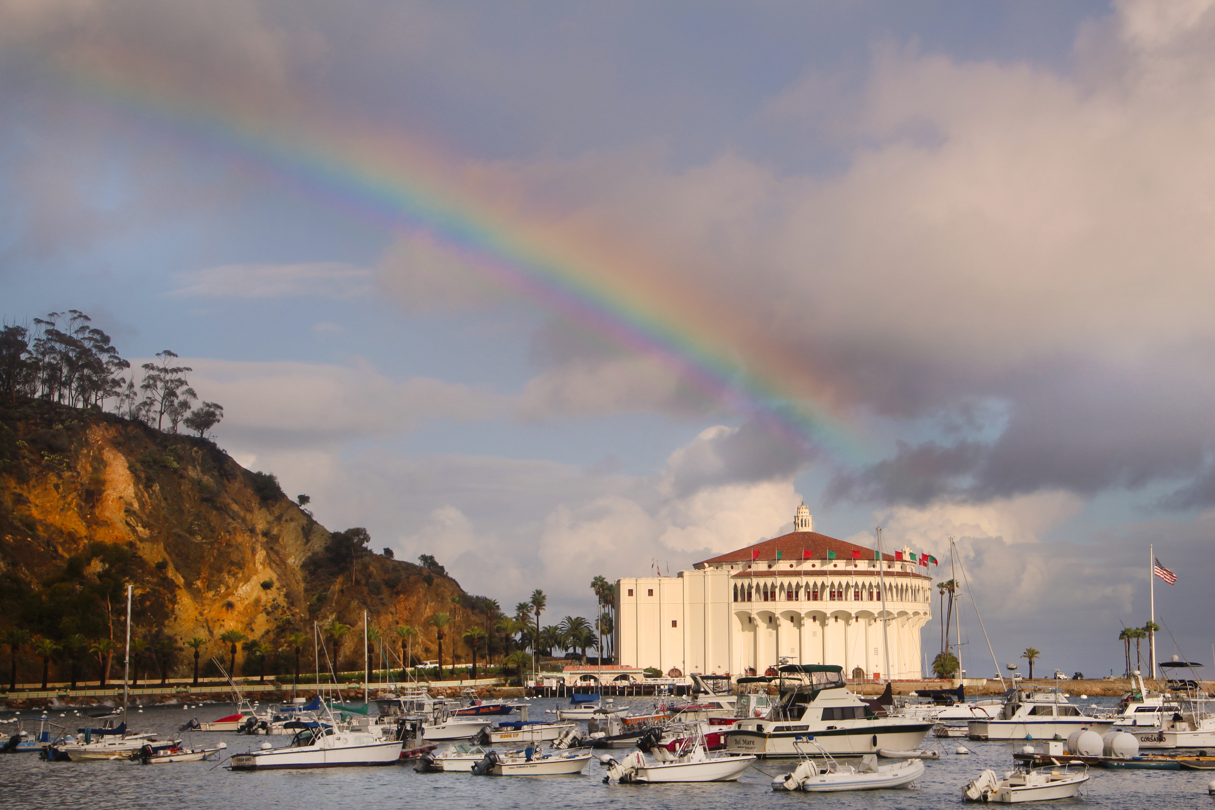 A winter rainbow provides a magical backdrop above the historic Avalon Casino on Catalina Island. Photo:  Joanne DiBona