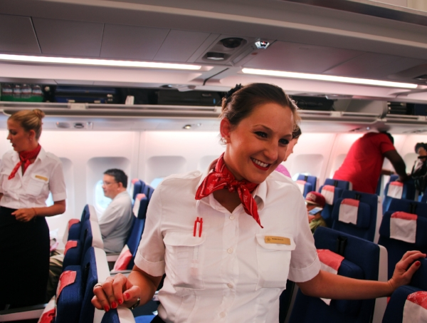 Our gracious Edelweiss flight attendant     © Tony DiBona