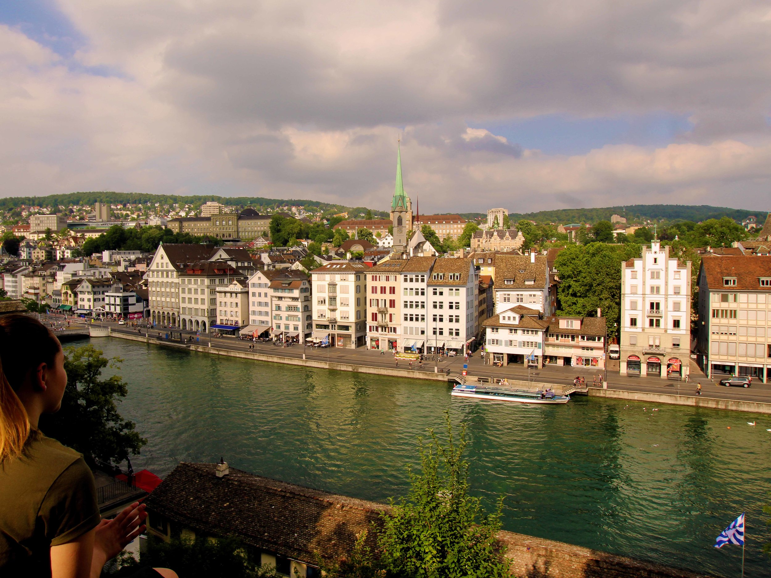 View on the city of Zurich Switzerland, from the Lindenhof   © Joanne DiBona