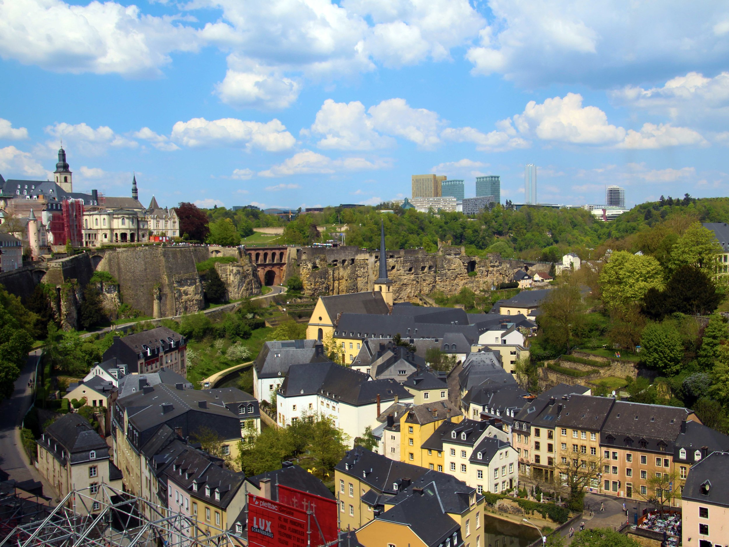 View on Luxembourg's Old Town district, built on the ruins of an old Roman wall. © Joanne DiBona