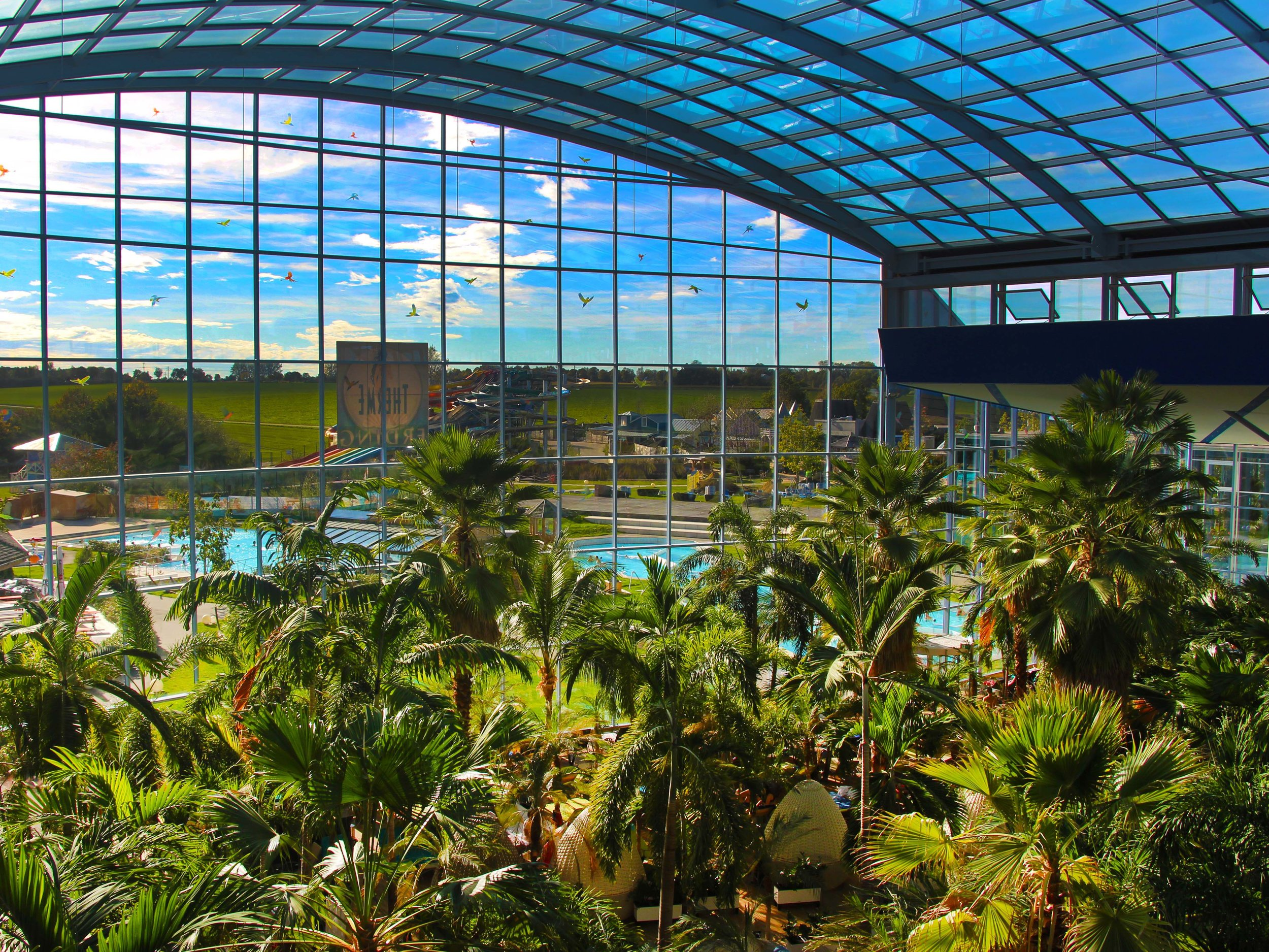 View on the tropical landscape under one of the domes of Therme Erding, located just 10 miles from the 5-Star Munich International Airport.