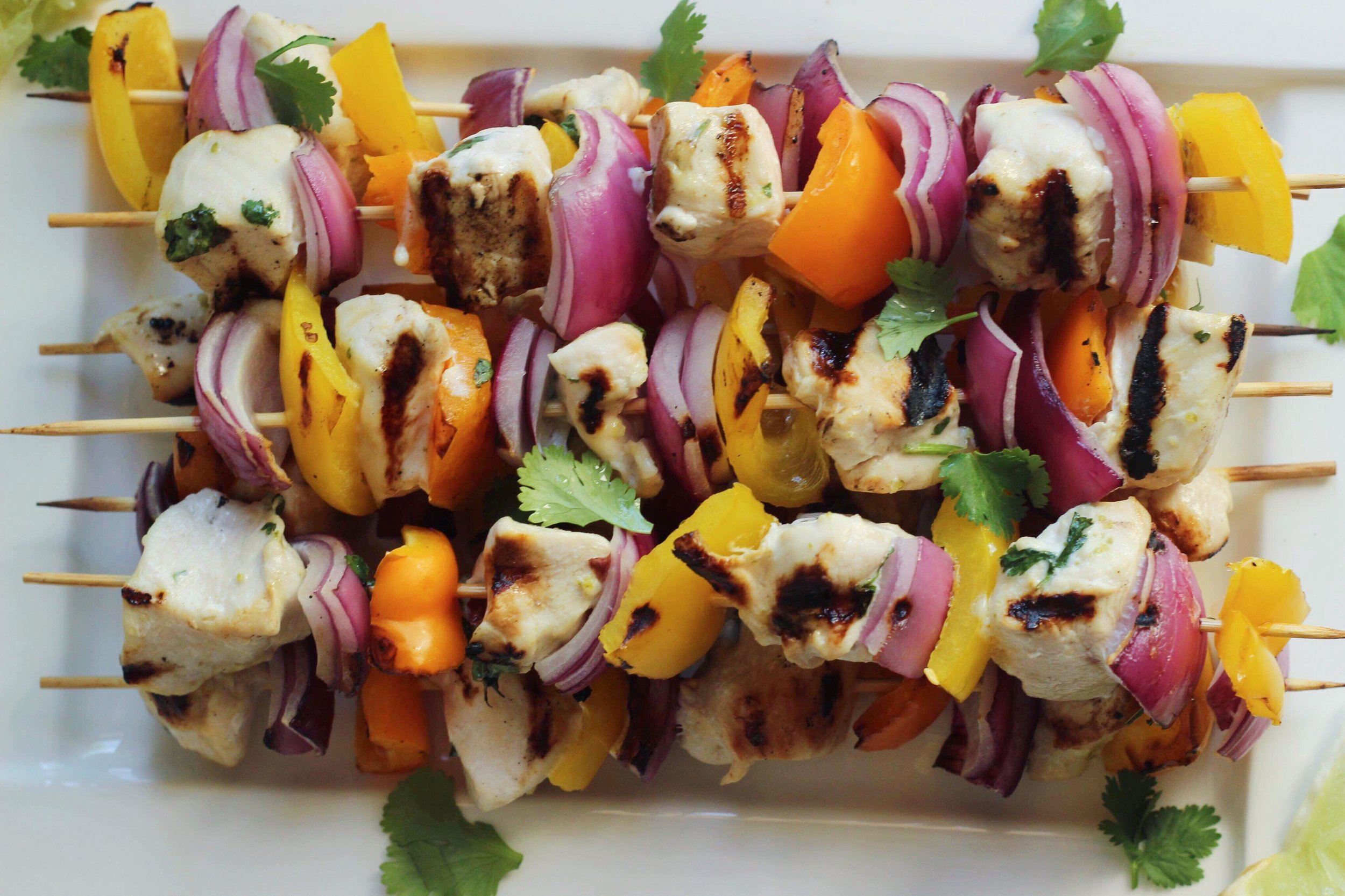 grilled chicken kabobs with cilantro, lime and honey