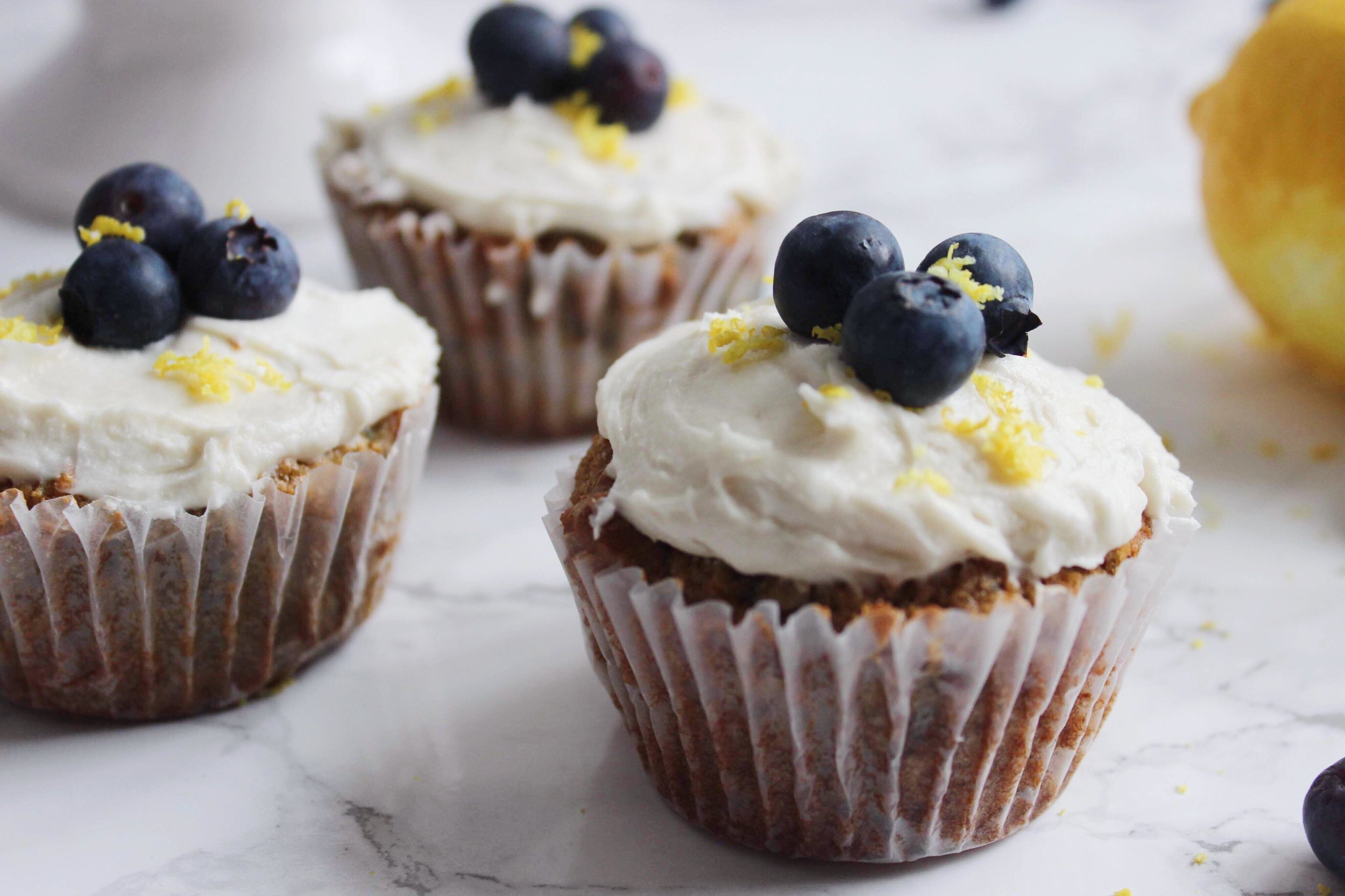 paleo cupcakes with lemon cream frosting