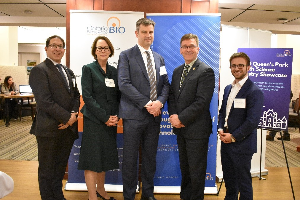 At OBIO's 2019 Queen's Park Advocacy Day. Pictured left to right: Amol Karnick, KA Imaging, Gail Garland, OBIO, Brian Courtney, Conavi Medical, Hon. Bill Walker, Minister of Government and Consumer Services, and Zack Fisch-Rothbart, CoHealth.