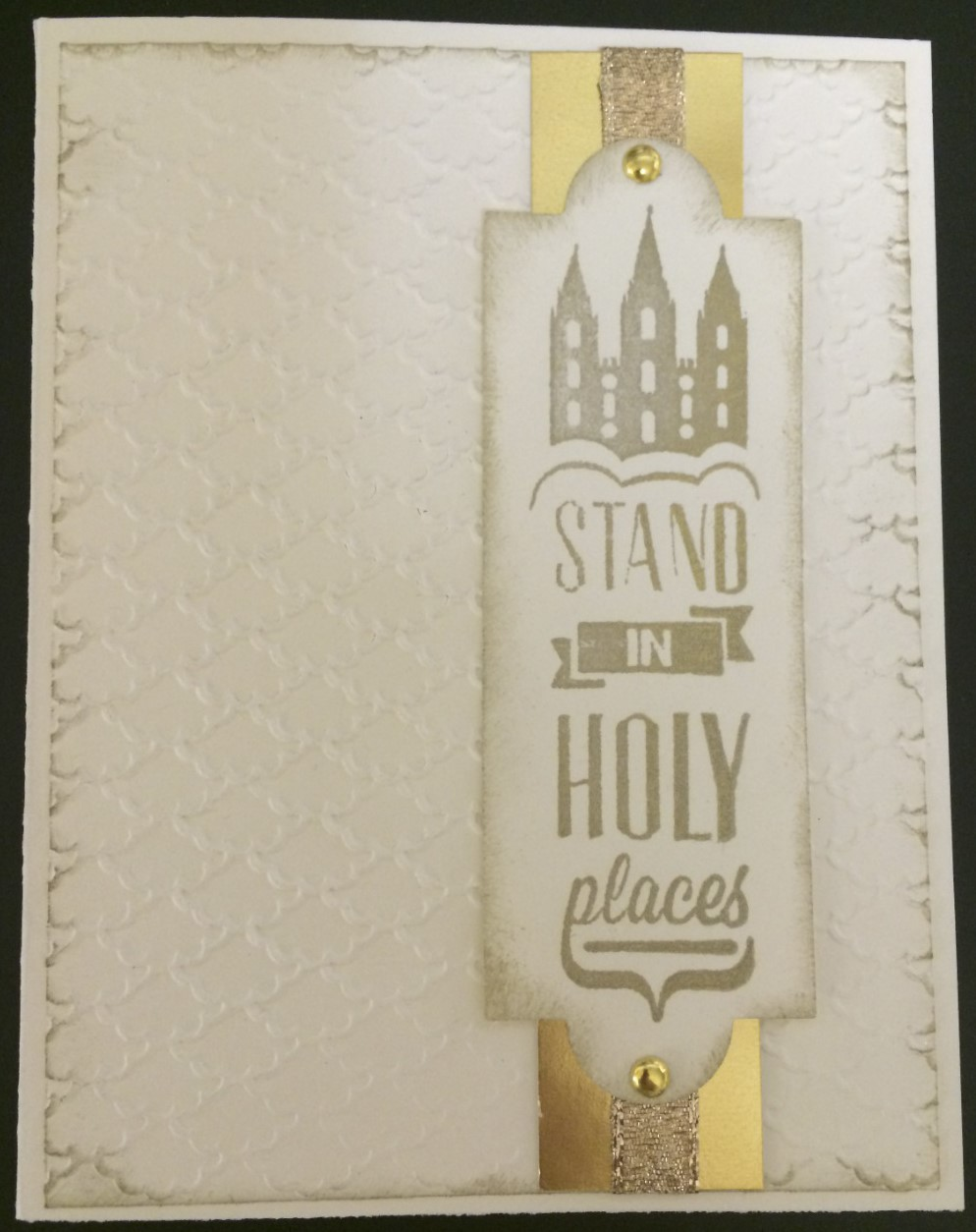Stand in Holy Places Card created with 3D-printed stamp. Source: WhiteClouds