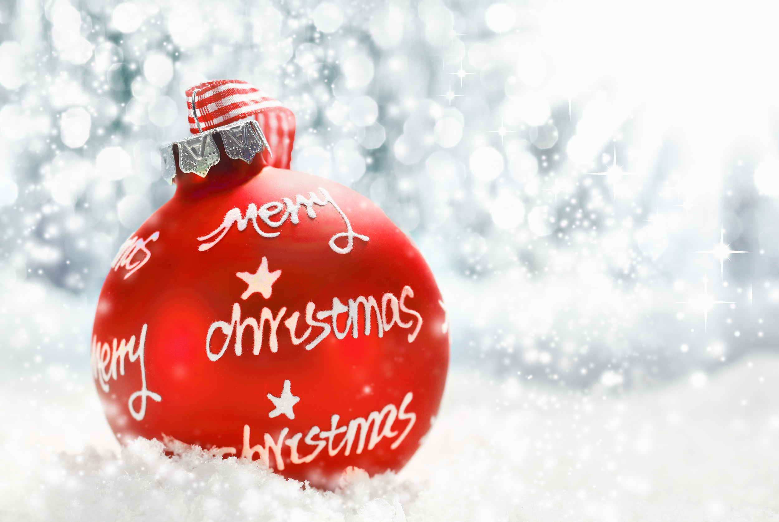Merry Christmas red Christmas ornament. Source: stockcreations/Shutterstock.com