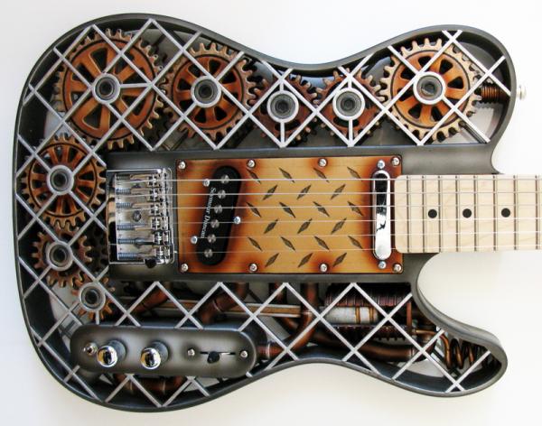 3D Printed Steampunk ODD Guitar. Source: ODD Guitars