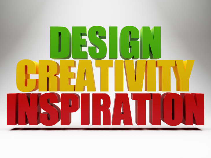 Design, creativity, inspiration words. Source: ArtFamily/Shutterstock.com