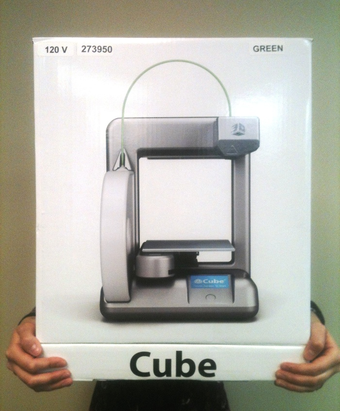 The Cube 3D printer box. Credit: WhiteClouds