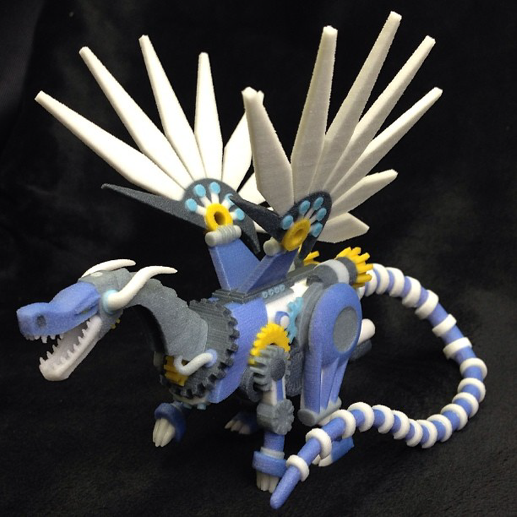 3D printed blue steampunk dragon. Source: WhiteClouds