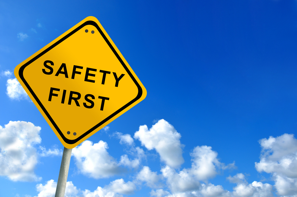 Safety First yellow sign. Source: Shutterstock