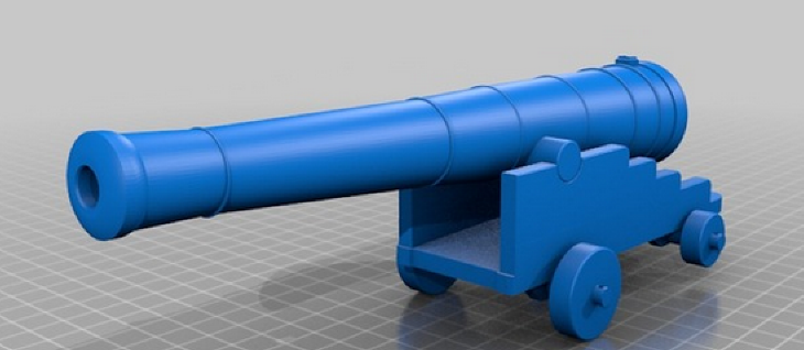 3D Printed Cannon on Thingiverse. Source: WhiteClouds