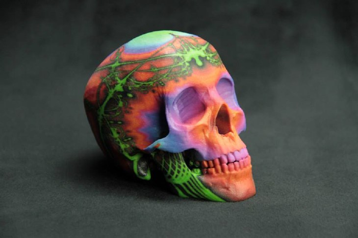 3D printed colorful skull. Source: WhiteClouds