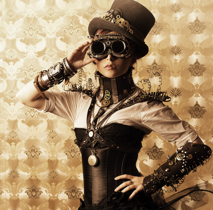 Steampunk woman in Victorian dress. Source: Kiselev Andrey Valerevich