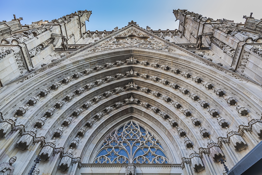 Cathedral facade, looking up towards the sky. Source: Shutterstock