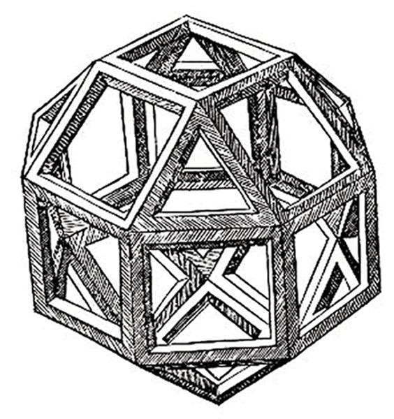 3D Printed Polyhedron Woodcut by Leonardo da Vinci. Source: Wikipedia Commons
