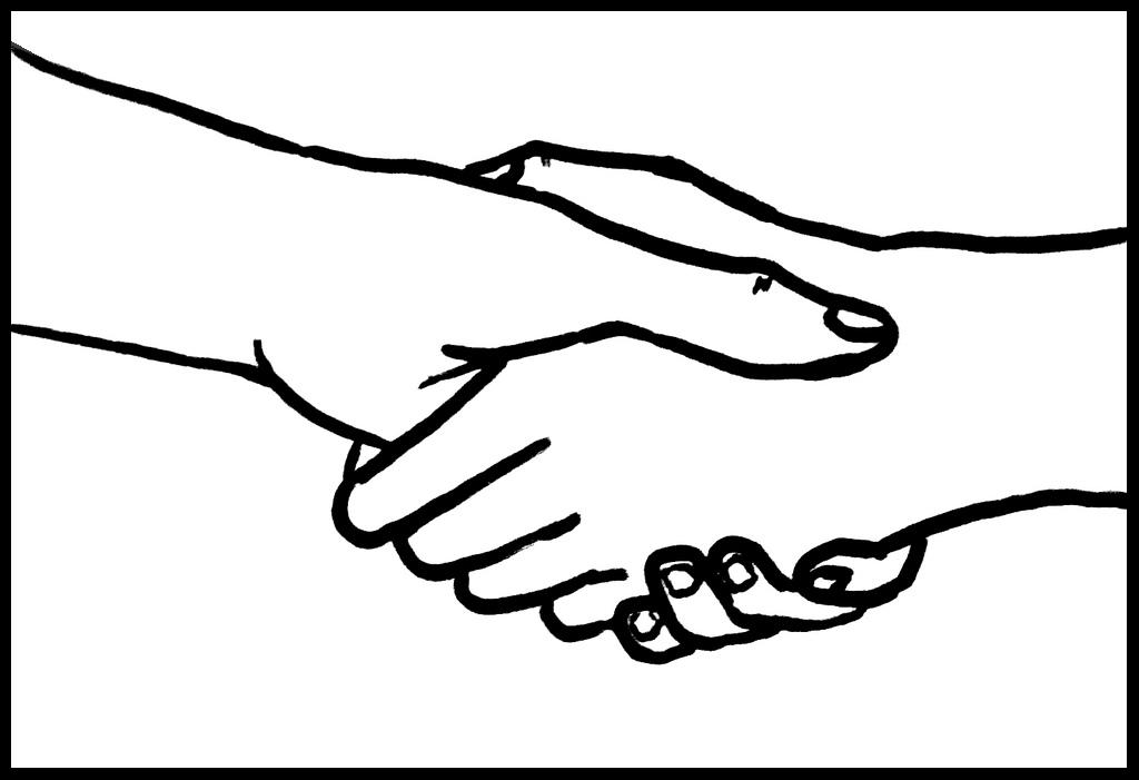 Drawing of handshake. Source: Aiden Jones, Creative Commons