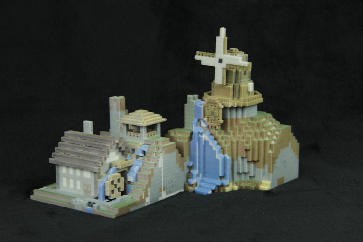 3D printed Minecraft  mill building. Source: WhiteClouds