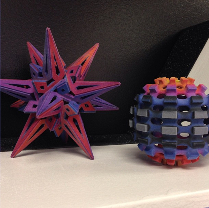 3D Printed Math Art designs by George Hart (left) and Kyle Gifford (right). Source: WhiteClouds