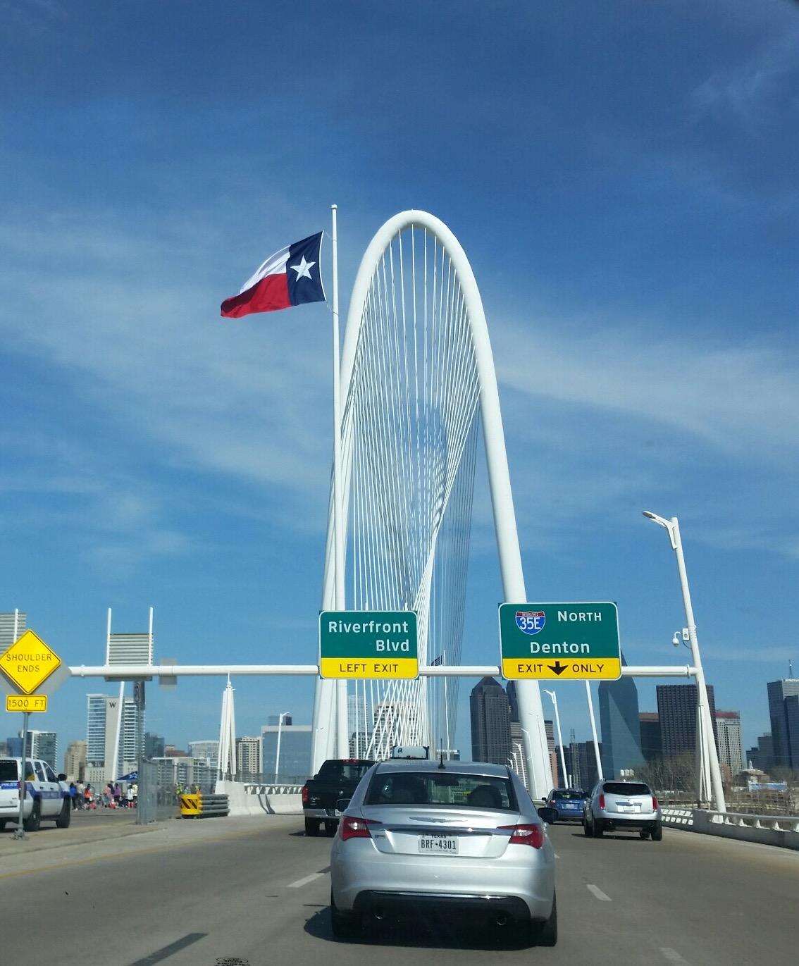 Built in 2012, The Margaret Hunt Hill Bridge is a fairly new Dallas landmark.
