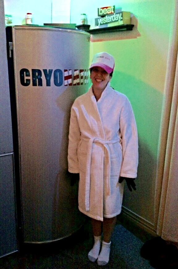 Good thing I had this bathrobe so hubby could take my picture before I stepped into the chamber.