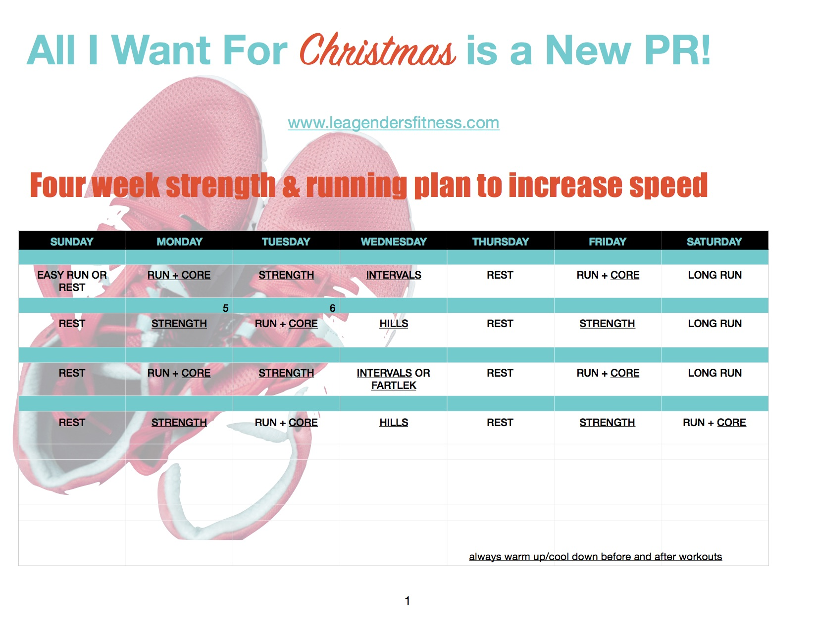 Download the training schedule below to improve your speed by Christmas