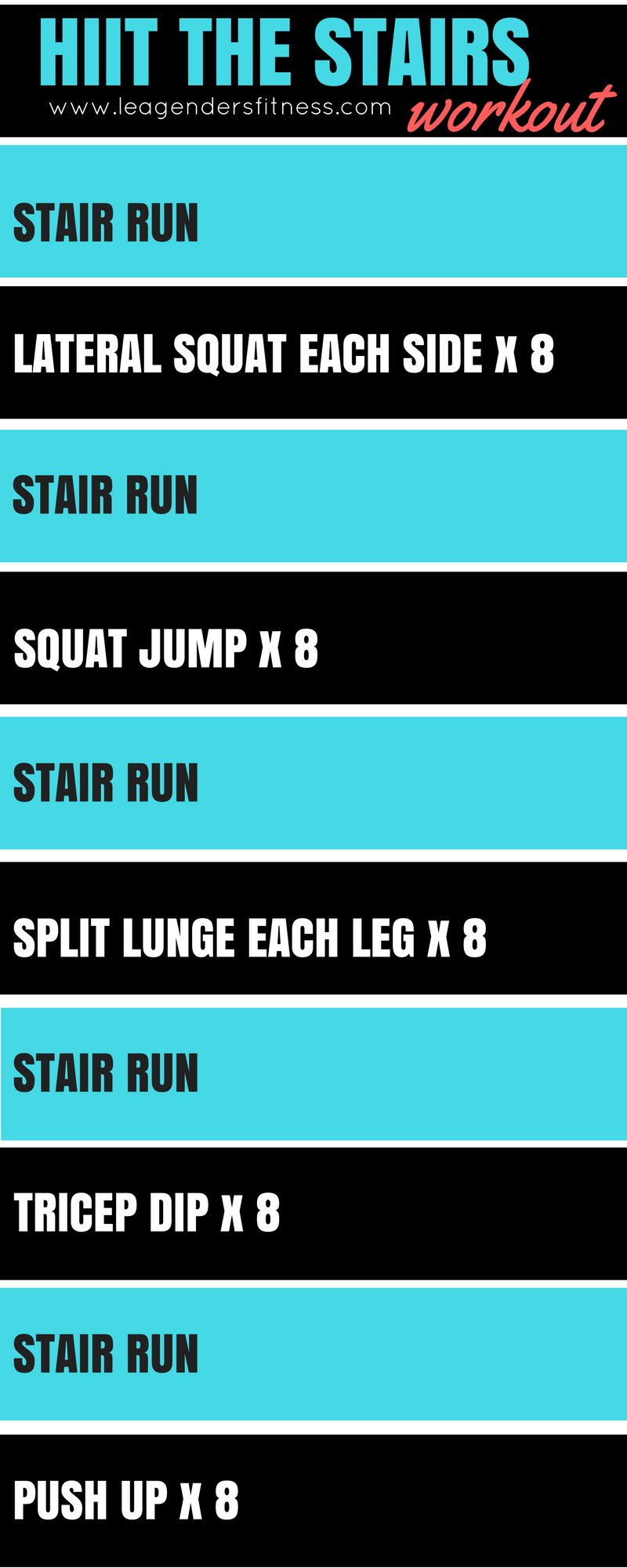 Download a FREE PDF of HIIT the stairs workout - no email address required. Just click and download.