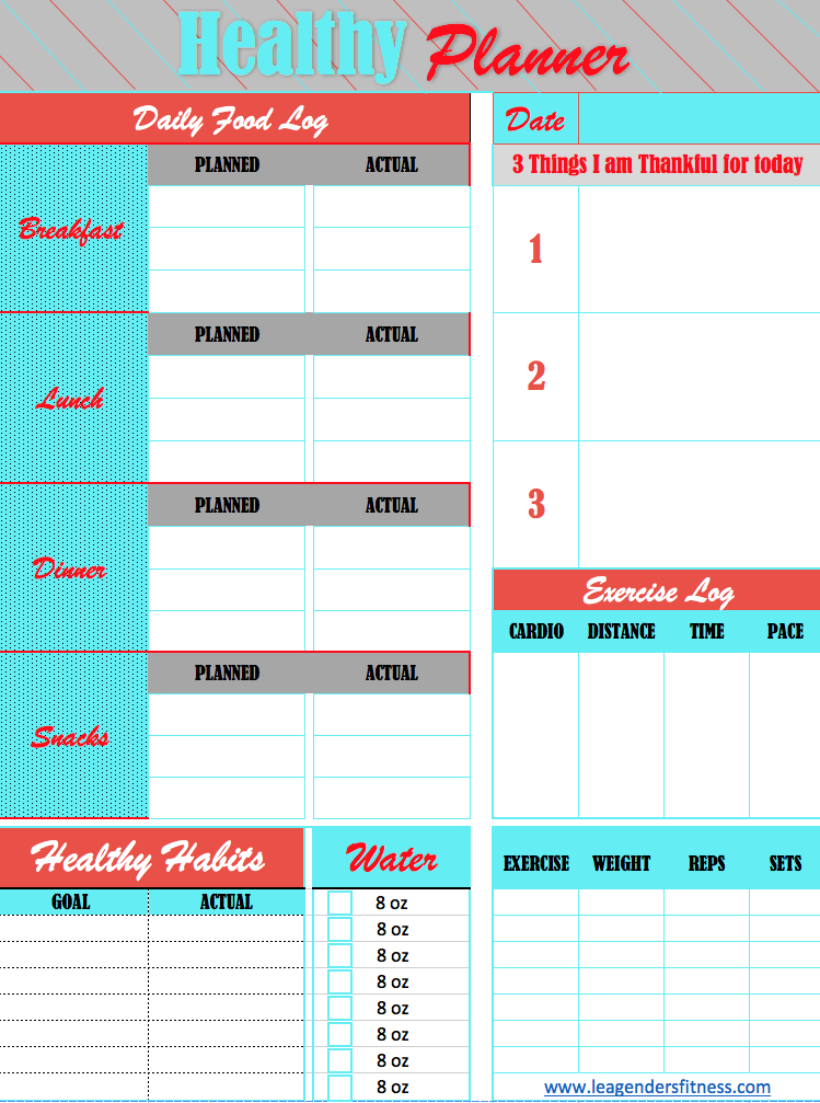 Healthy planner - Like this tracker? Save to your favorite Pinterest board!