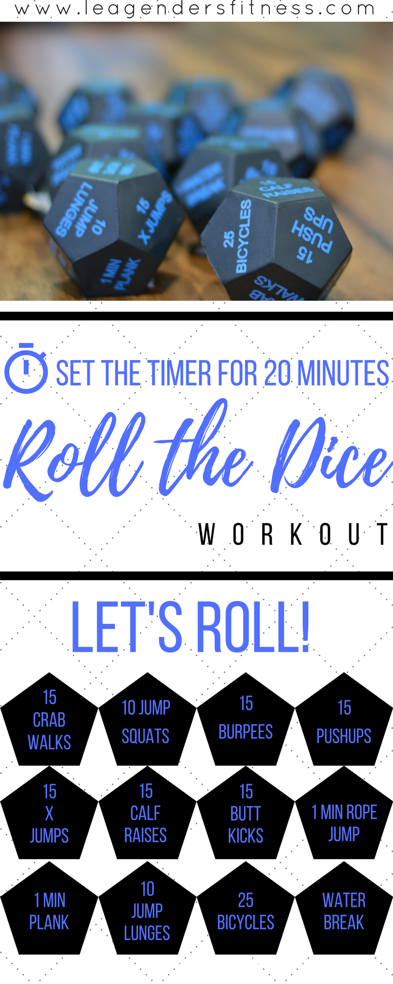 Roll the Dice Workout. Save to Pinterest for later.