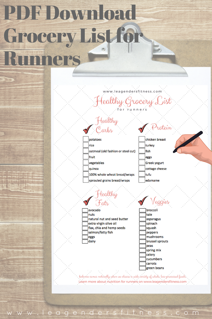 download the free printable PDF healthy grocery list for runners. Save to Pinterest for later.