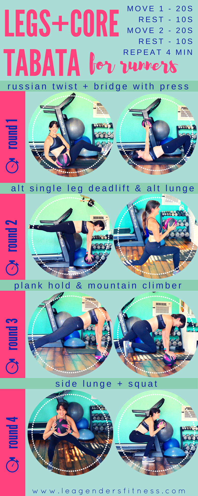 Legs plus core Tabata for runners. Download a free printable version of this workout. Save to Pinterest for later