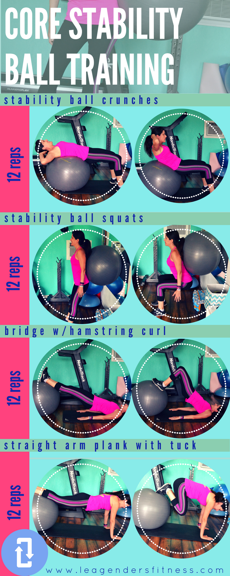 Core Stability Ball Training. Save to Pinterest for later. Download a printable PDF of this workout.