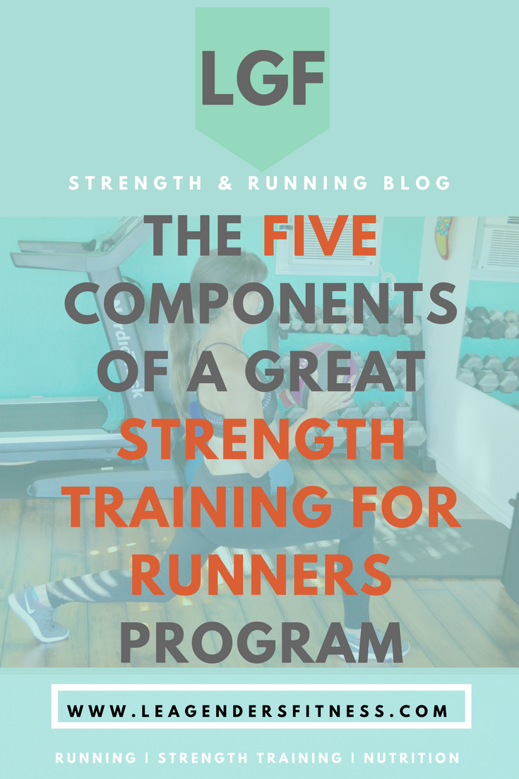 the five components of a great strength training for runners program. save to Pinterest for later.