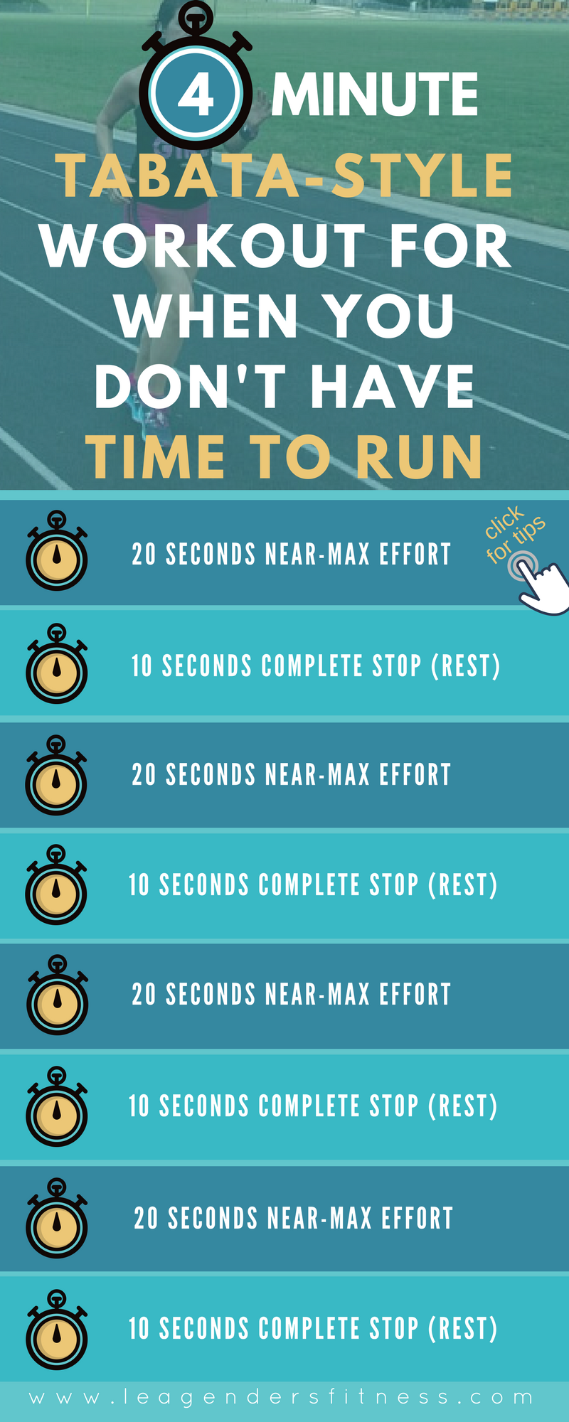 four minute tabata-style workout for when you don't have time to run. save to Pinterest for later.