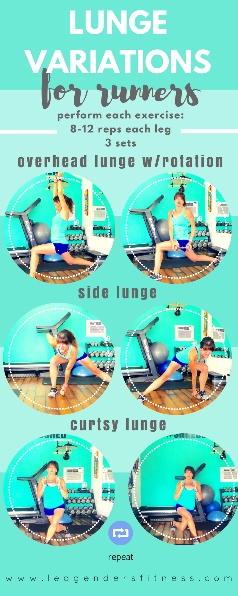 Lunge variations for runners to work your Glutes. Save to your favorite Pinterest board for later.