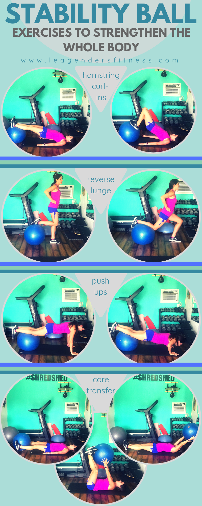 stability ball exercises to strengthen the whole body. Save to your favorite Pinterest board for later.