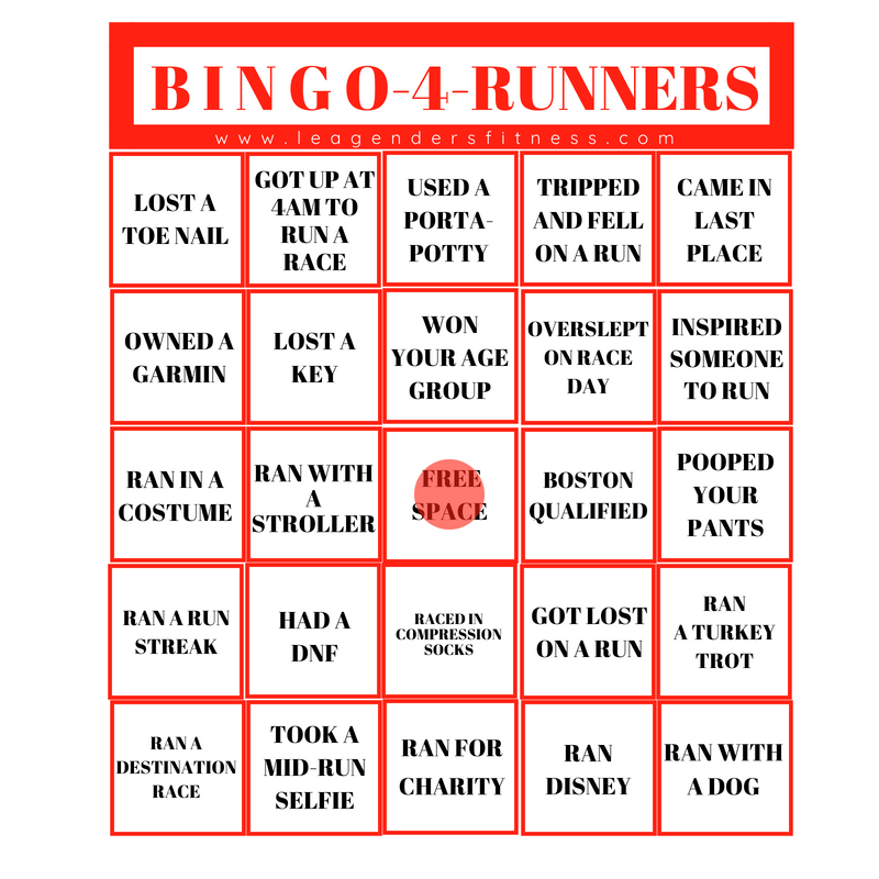 Bingo for runners. Save to your favorite Pinterest board for later or share your results on Instagram and tag @leagendersfitness