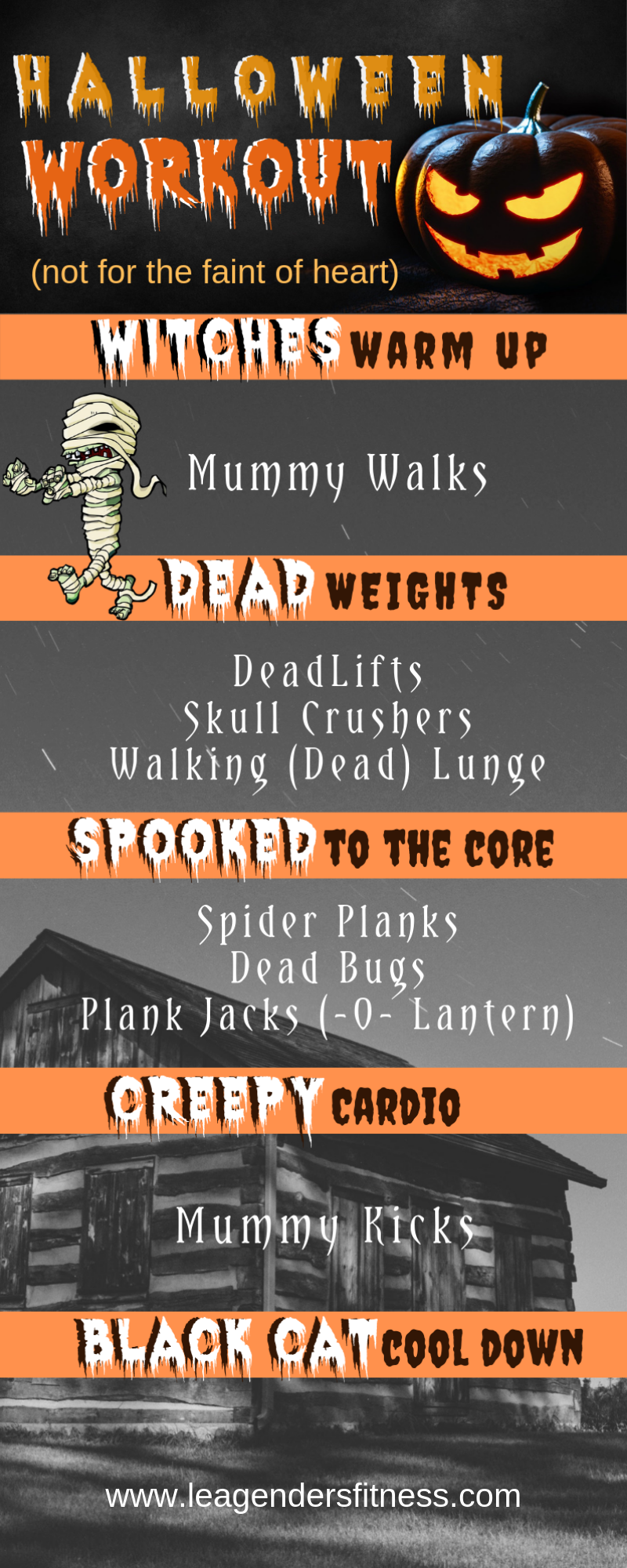 Halloween workout to spook you to the core. Save to your favorite Pinterest workout board for later.