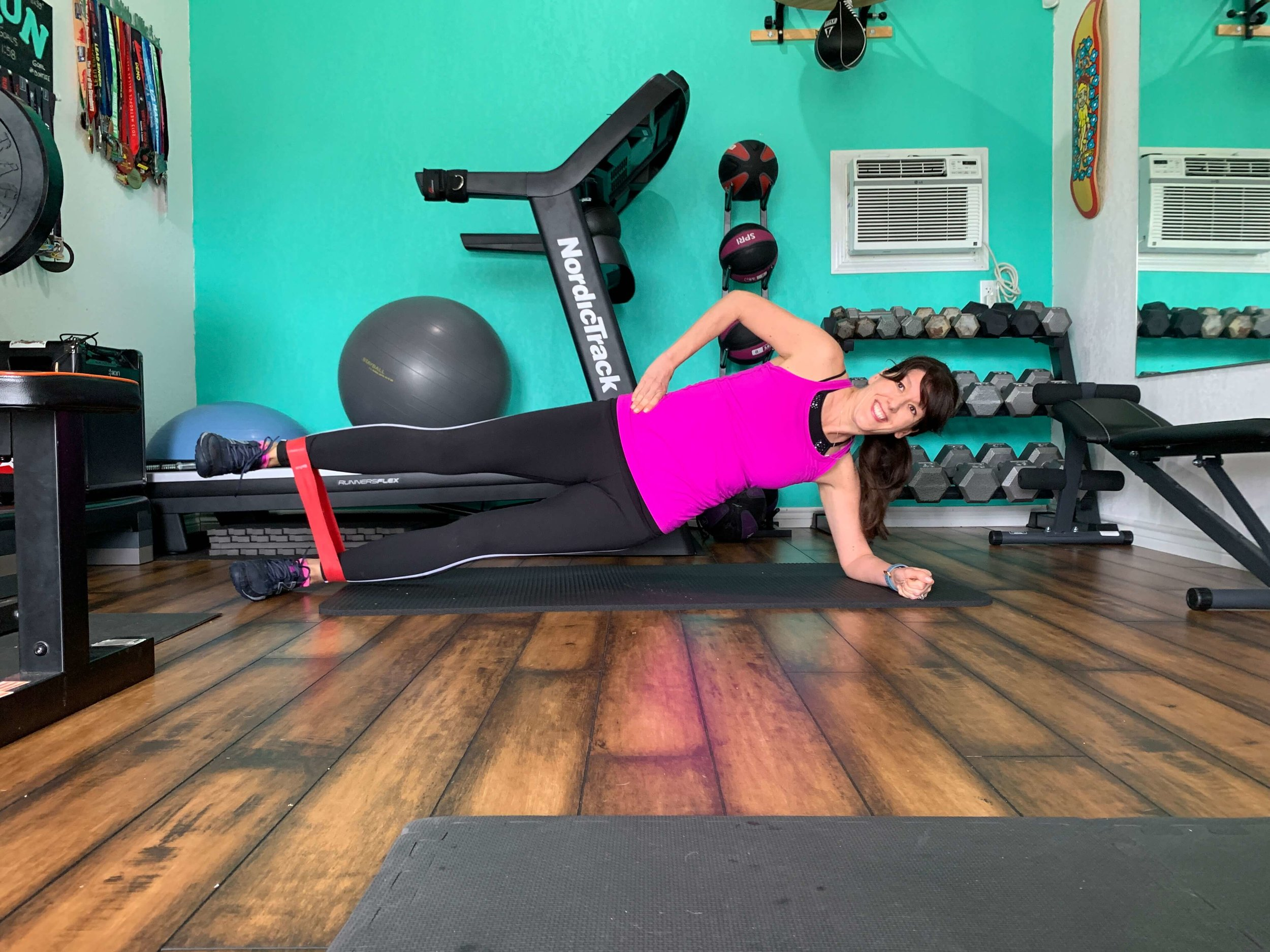 banded side plank hip abduction