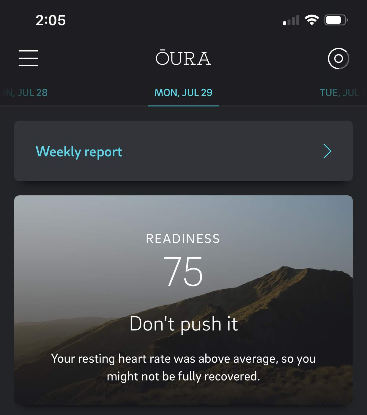 Oura don't push it