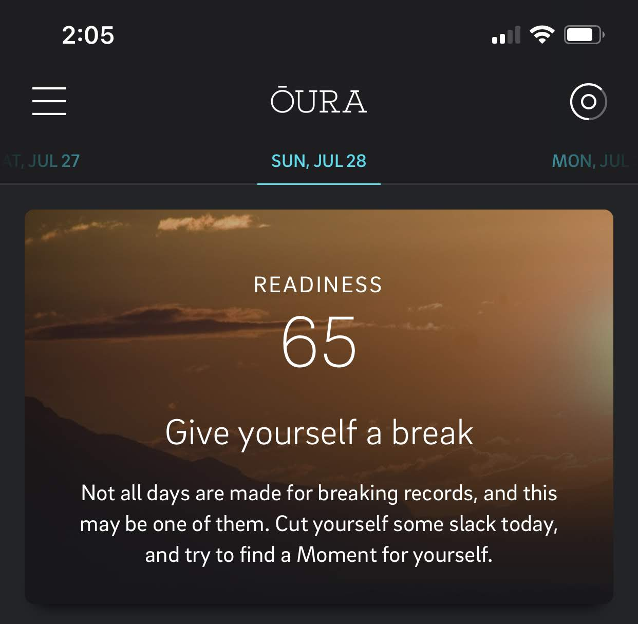 Oura take a break