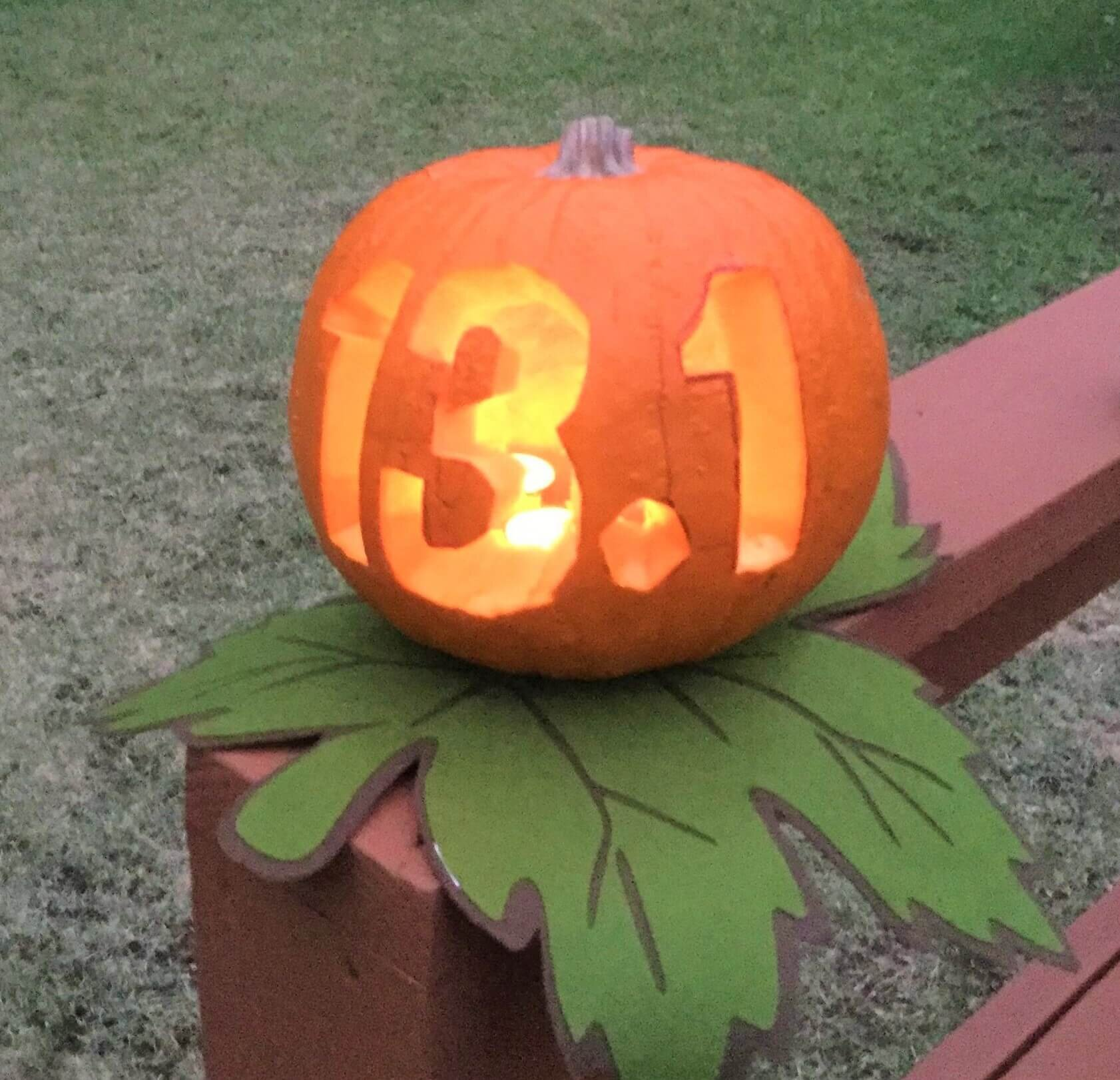 Pumpkin 13.1. My husband gets credit for carving the half marathon pumpkin.