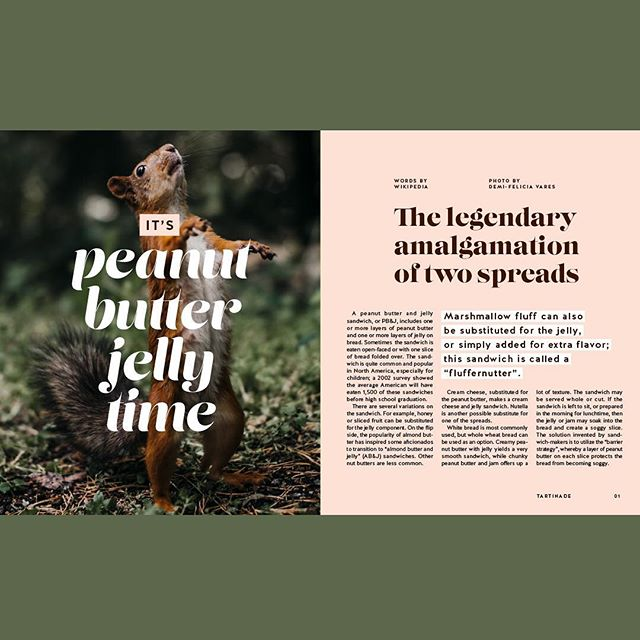 Tartinade 01 ///// Hello lovely folks! Here is the first spread of the Tartinade project. Thought I'd start by featuring the most famous spread duo of all time: PB&J. 🥜 Hope you like it! . . . . . . #creativehappylife #magazinespread #editorialdesign #magazinedesign #spread #graphicdesign #grids #typography #personalproject #ottawadesigner #tartinade