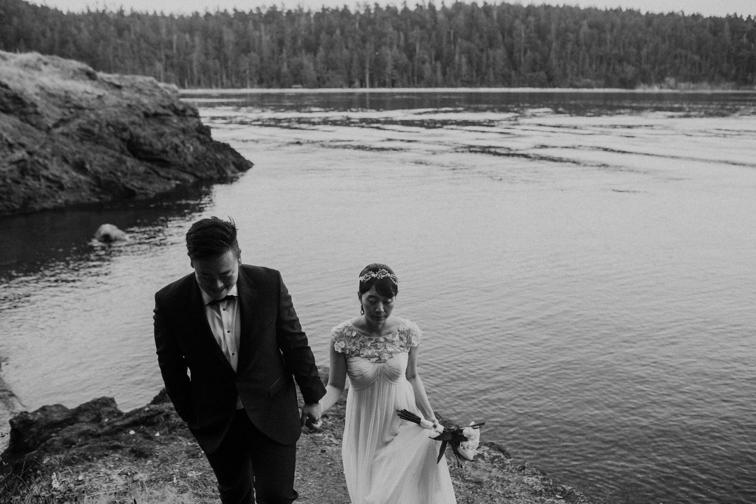 black and white wedding seattle
