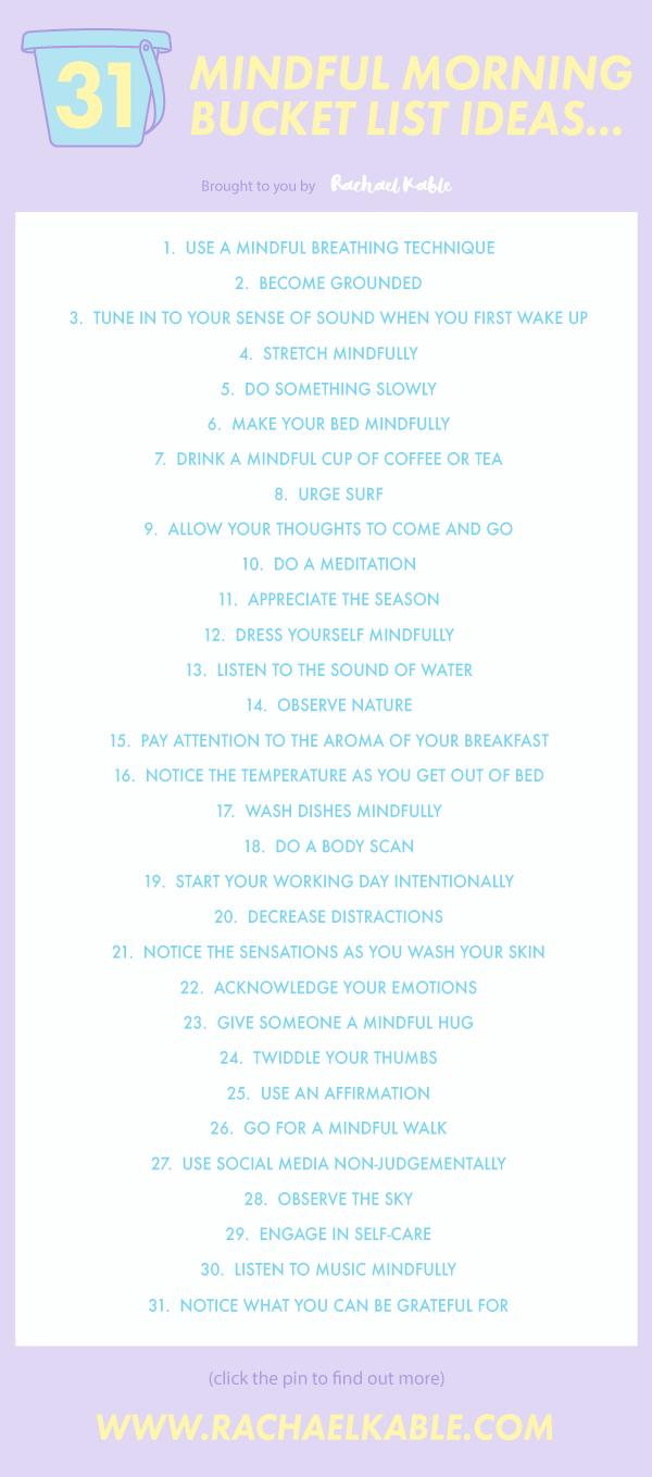 31 Mindful Morning Bucket List Ideas Rachael Kable