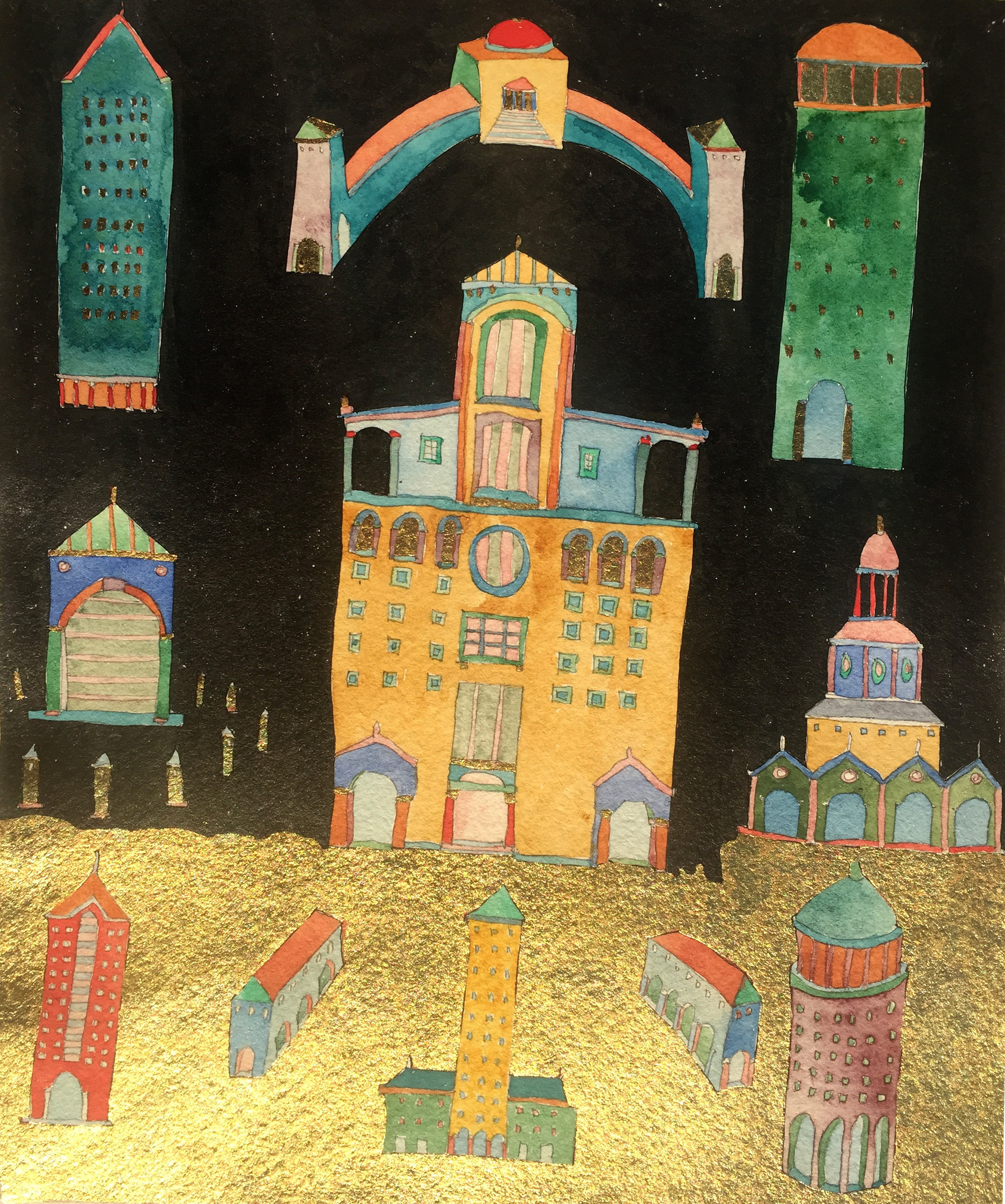 The Ascent of Architecture-w.c./gold leaf/india ink 1985