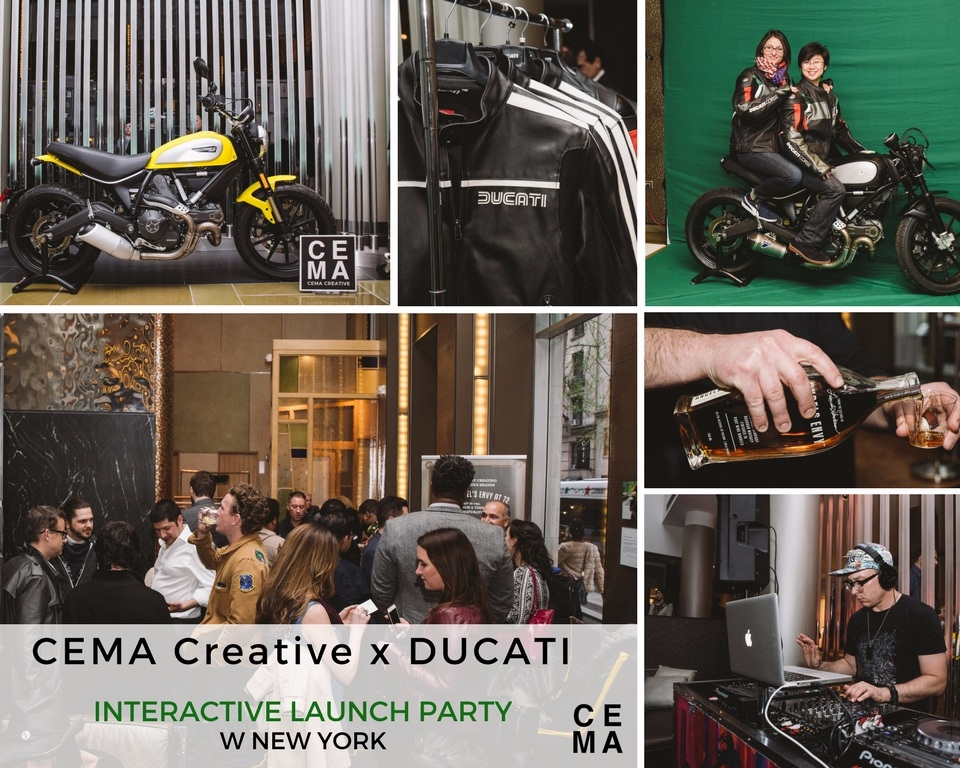 """The CEMA Creative team designed an interactive event """"The Ducati Experience"""" for Ducati Triumph, New York at the W New York. Guests enjoyed cocktails courtesy of Angel's Envy Bourbon, sets by DJ Pastich, and the chance to """"test drive"""" a custom Ducati Scrambler through green screen technology. The experience continued with two scramblers placed in the hotel for 60 days along with a pop up shop."""