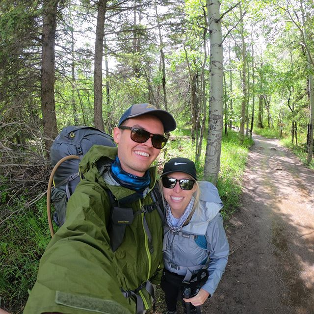 First backpacking trip of the summer done. We are still smiling in our after picture because all the rain that should have been didn't come. The forecast scared everyone else away. We didn't get a drop of rain on the hike in or out just some snow around midnight.  #backpacking #nationalparks #rmnp #camping #rockymountainnationalpark #cpstrong #cruisingsouth