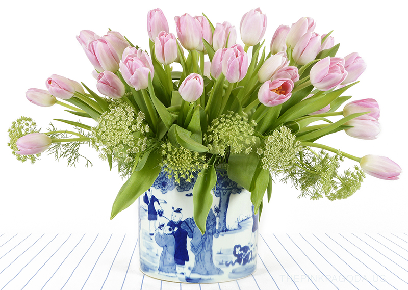 lots of pink tulips in a blue and white planter -- perfect for spring and gorgeous as a centerpiece for Easter